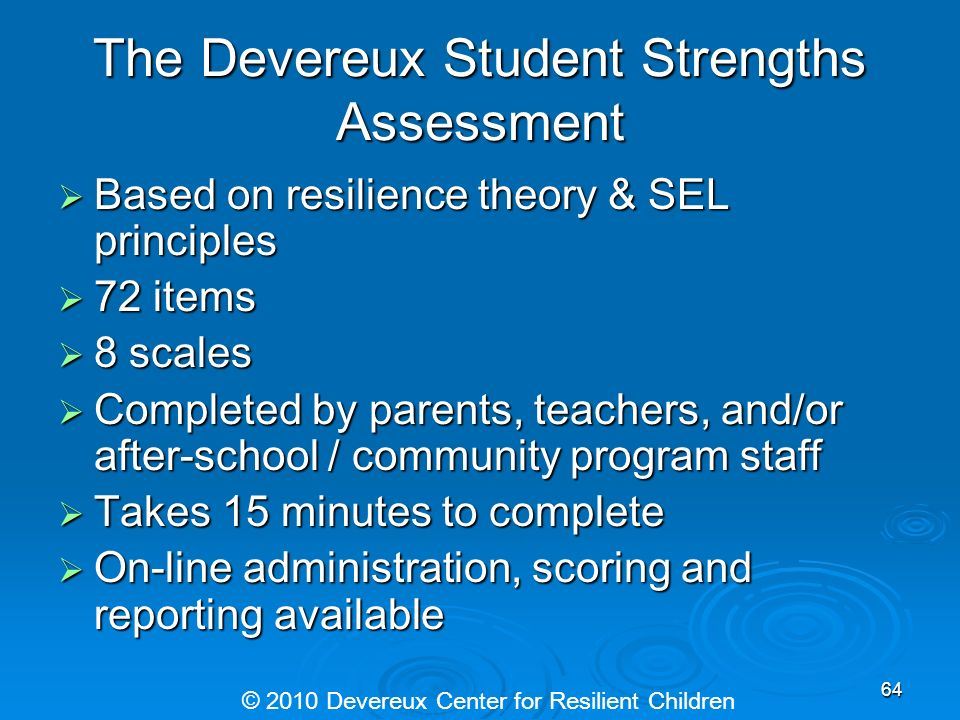 The Devereux Student Strengths Assessment