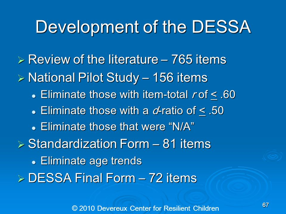 Development of the DESSA