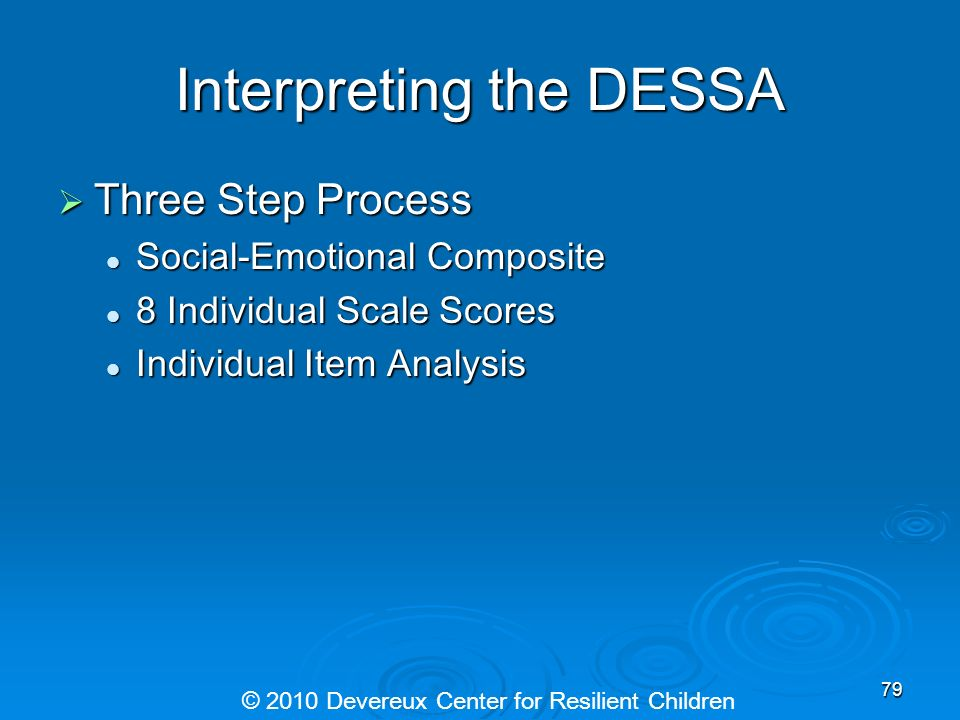 Interpreting the DESSA