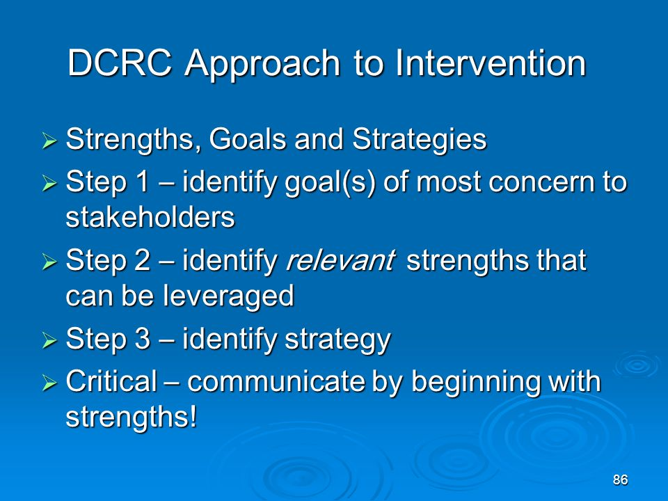 DCRC Approach to Intervention