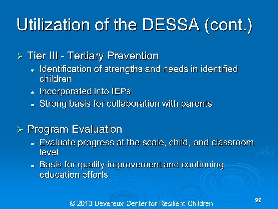 Utilization of the DESSA (cont.)
