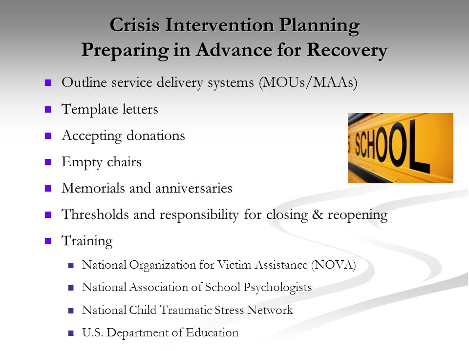Crisis Intervention Planning Preparing in Advance for Recovery