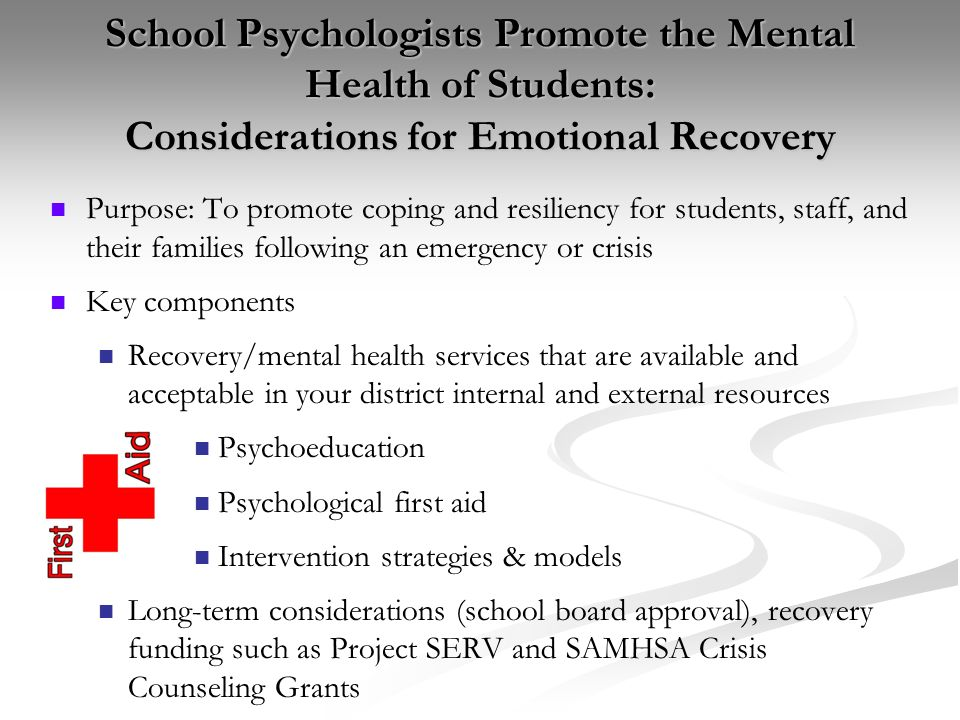 School Psychologists Promote the Mental Health of Students: Considerations for Emotional Recovery