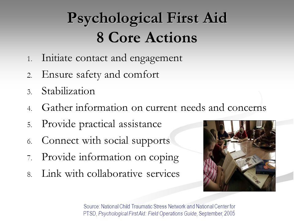 Psychological First Aid 8 Core Actions