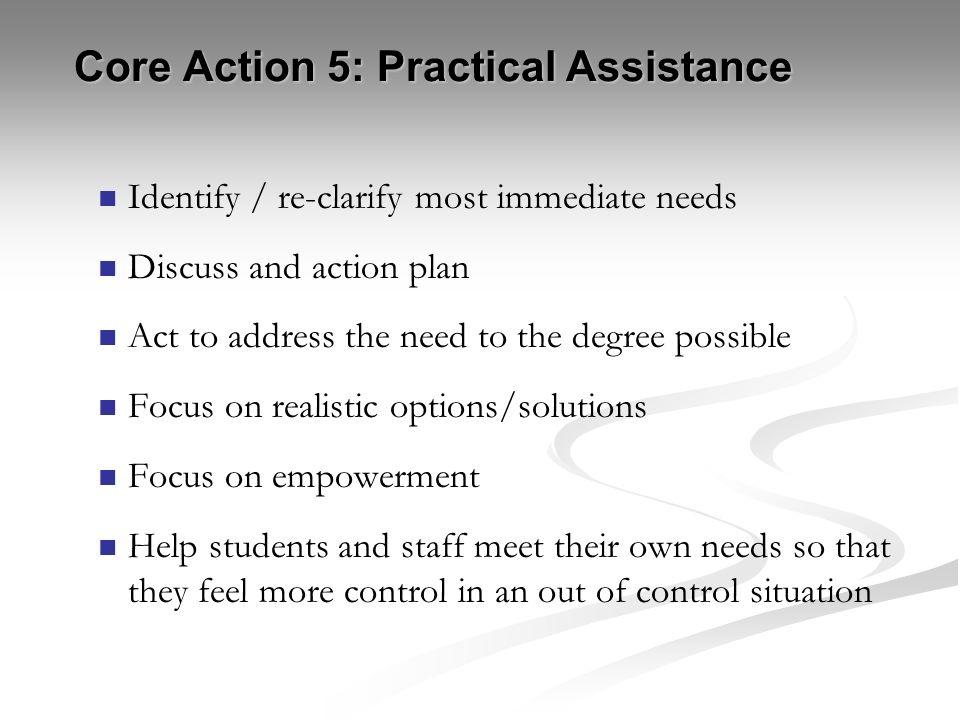 Core Action 5: Practical Assistance