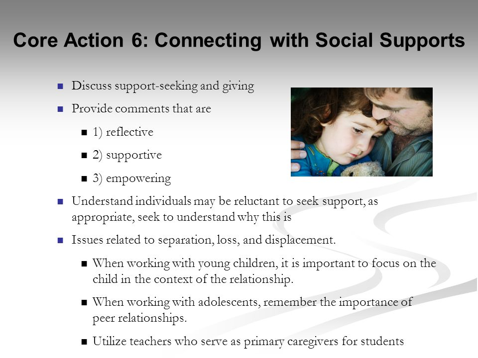 Core Action 6: Connecting with Social Supports