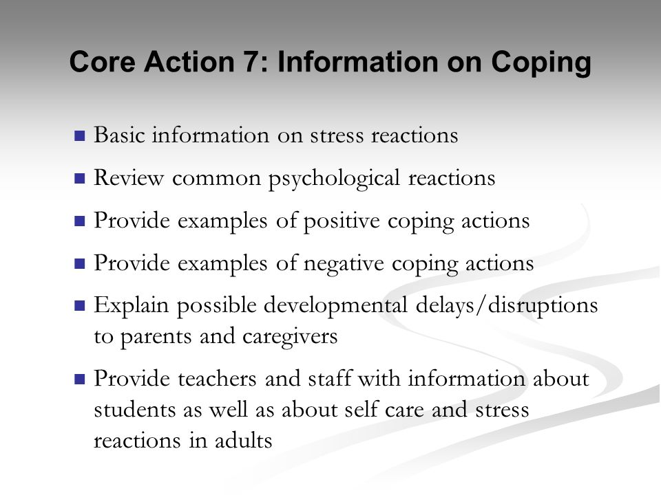 Core Action 7: Information on Coping