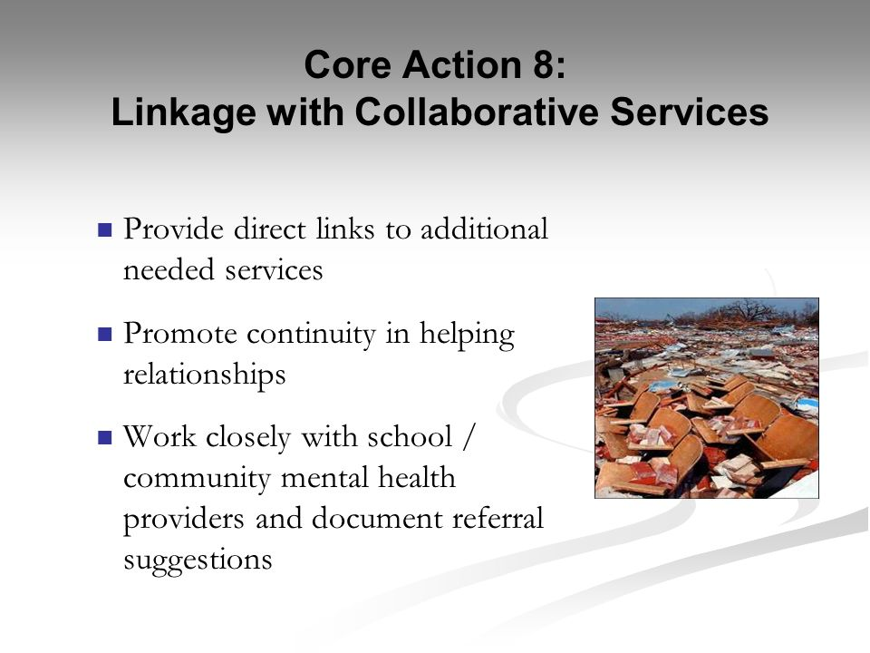Core Action 8: Linkage with Collaborative Services
