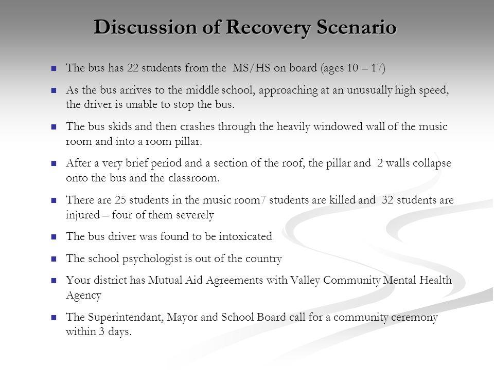 Discussion of Recovery Scenario