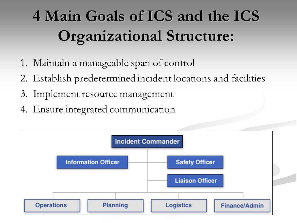 4 Main Goals of ICS and the ICS Organizational Structure: