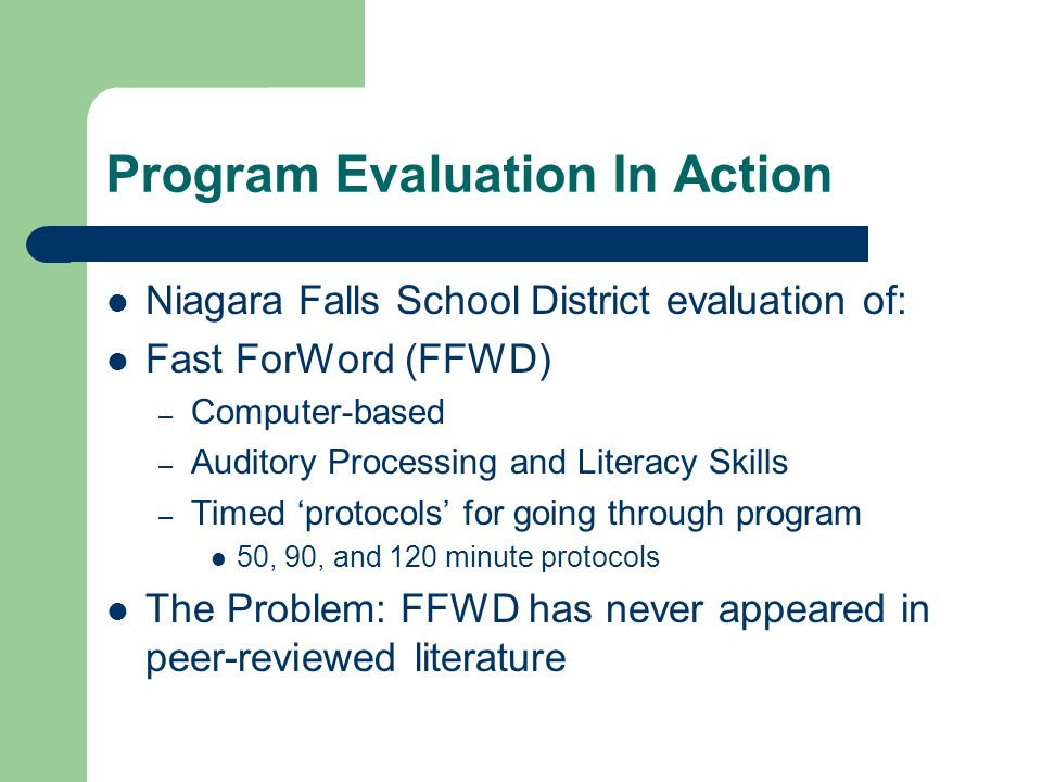Program Evaluation In Action