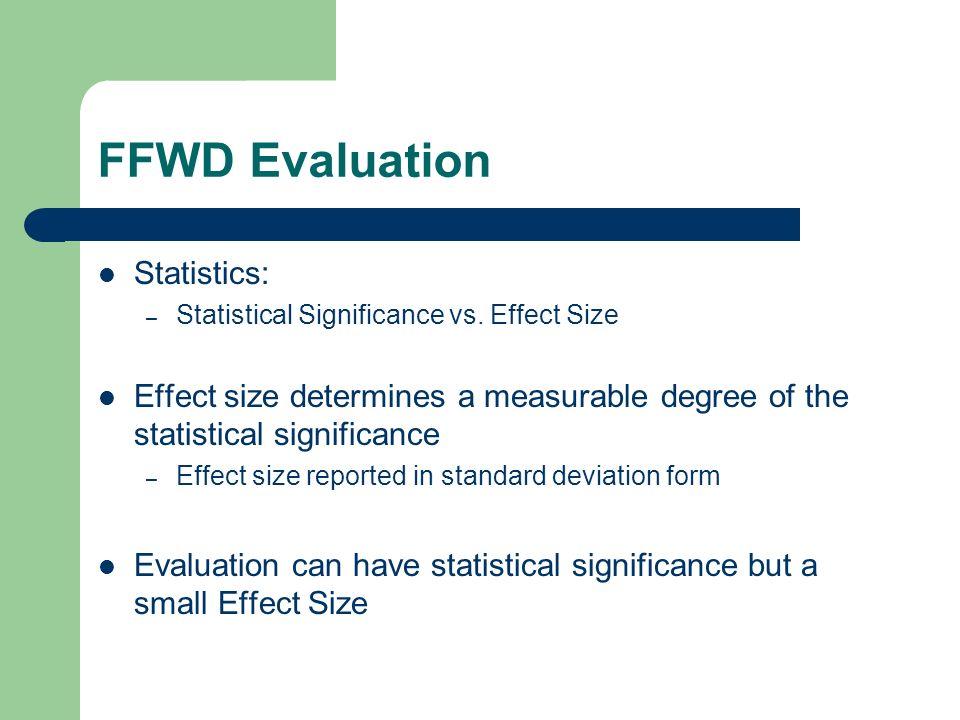 FFWD Evaluation Statistics: