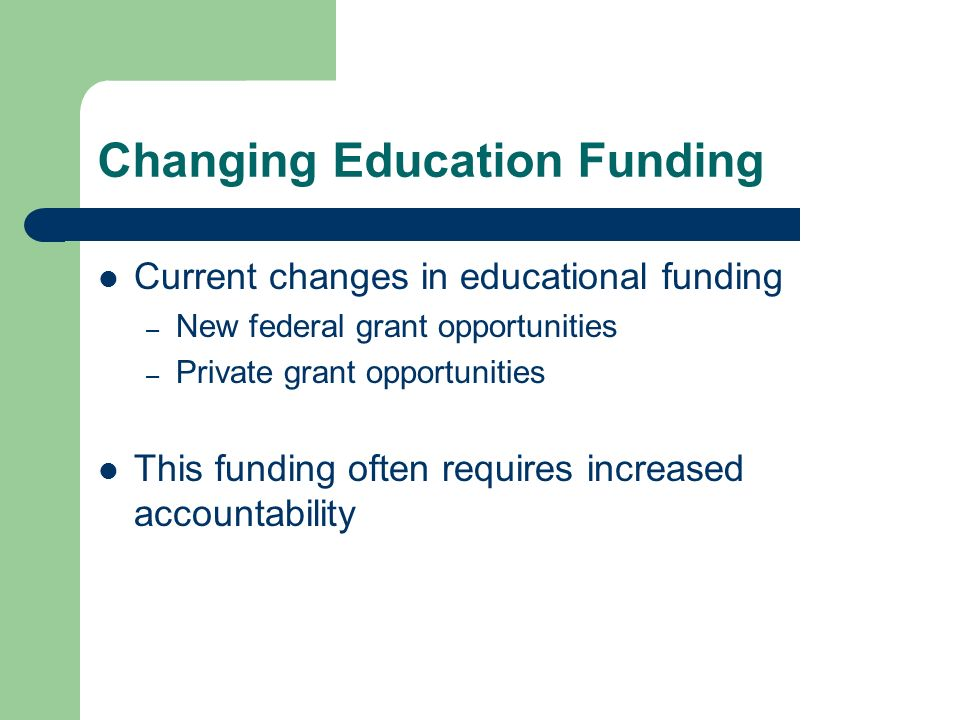 Changing Education Funding