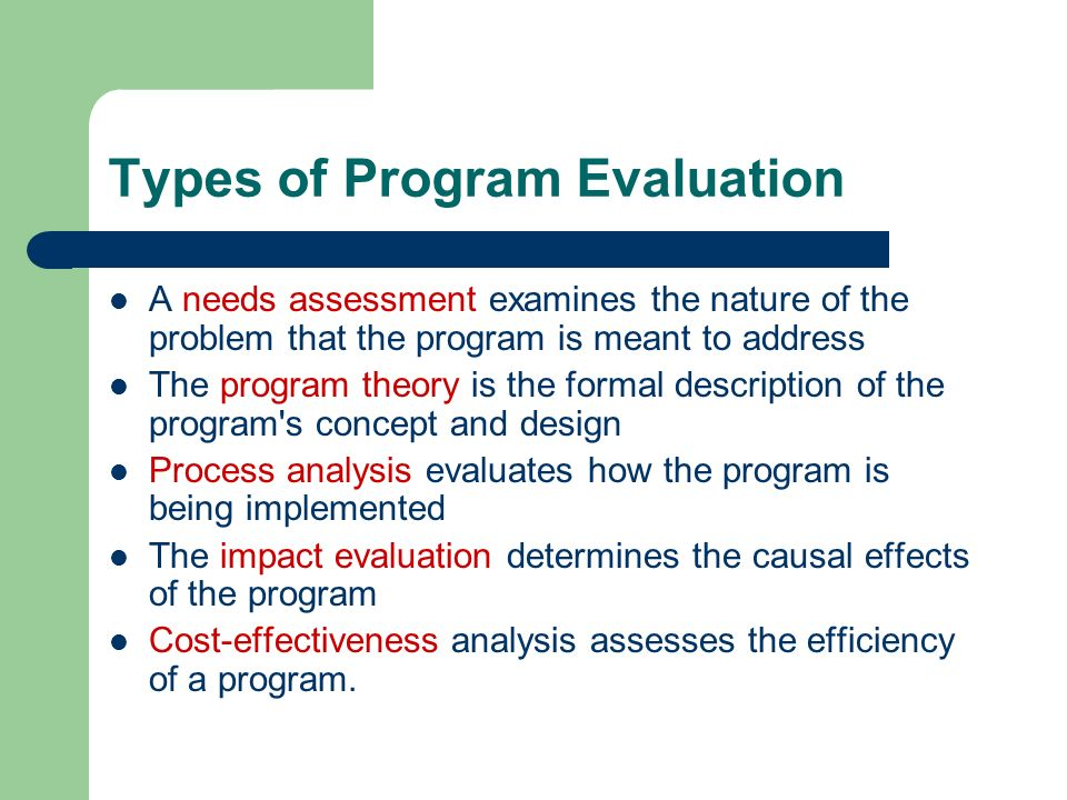 Types of Program Evaluation