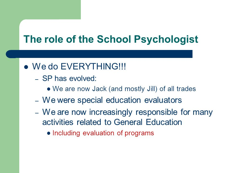 The role of the School Psychologist