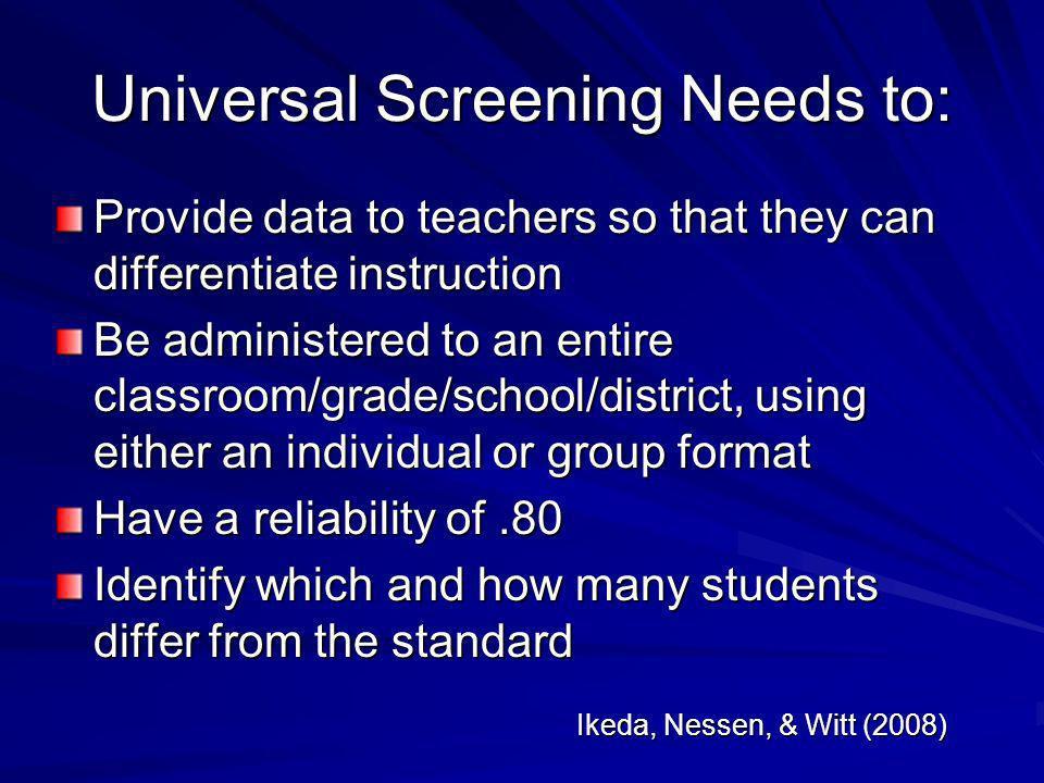 Universal Screening Needs to: