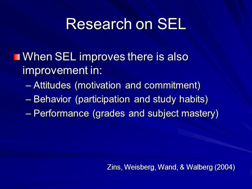 Research on SEL When SEL improves there is also improvement in: