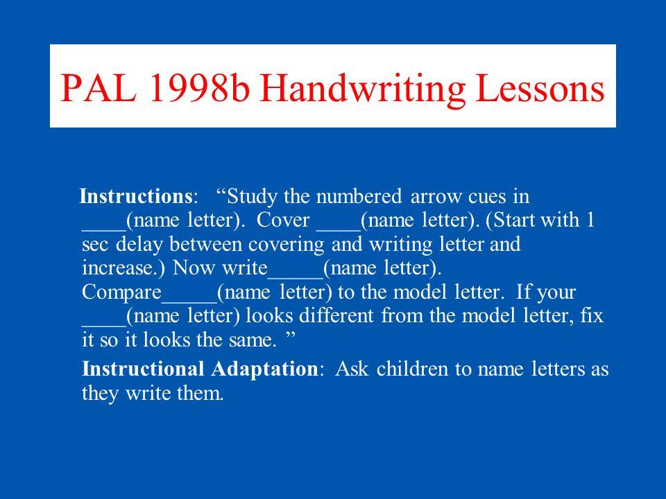 PAL 1998b Handwriting Lessons