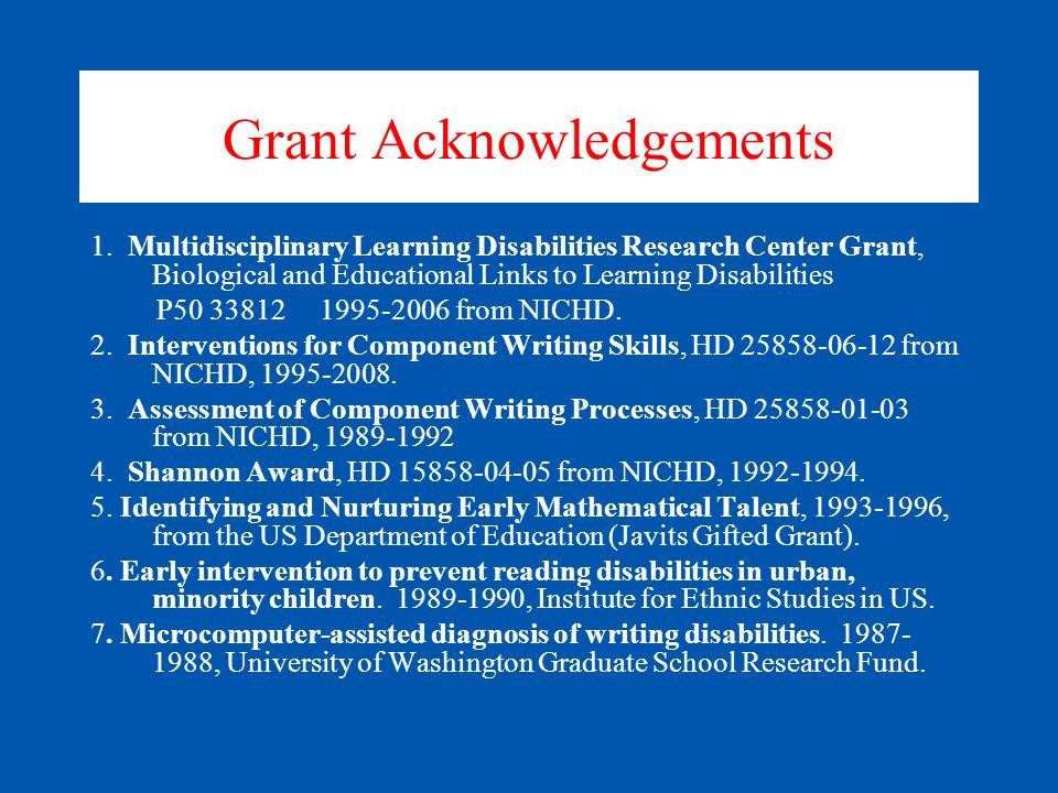 Grant Acknowledgements