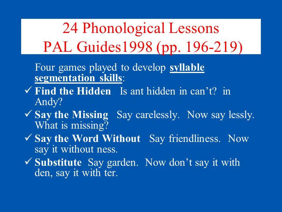 24 Phonological Lessons PAL Guides1998 (pp. 196-219)