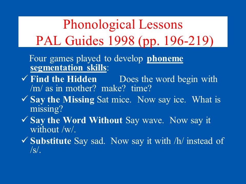 Phonological Lessons PAL Guides 1998 (pp. 196-219)