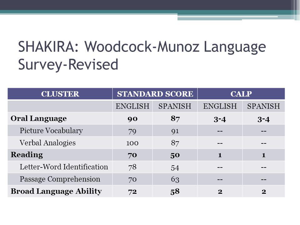 SHAKIRA: Woodcock-Munoz Language Survey-Revised