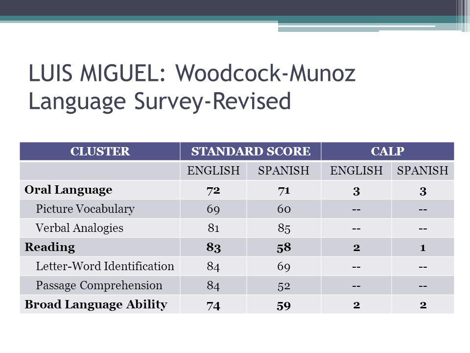 LUIS MIGUEL: Woodcock-Munoz Language Survey-Revised