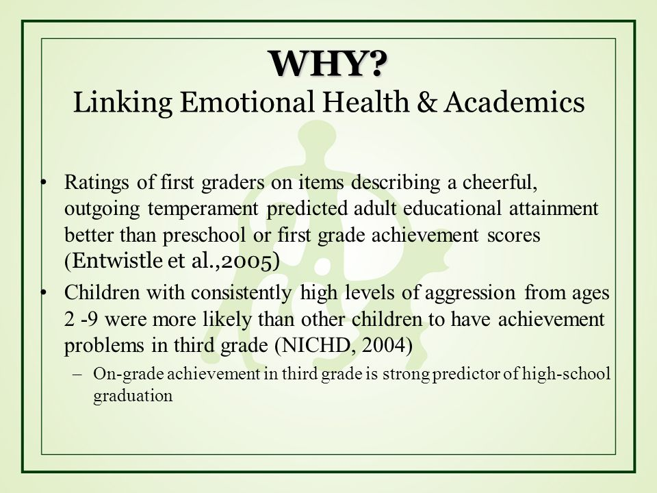 WHY Linking Emotional Health & Academics