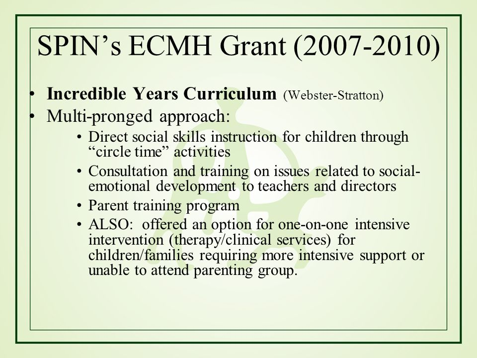SPIN's ECMH Grant (2007-2010) Incredible Years Curriculum (Webster-Stratton) Multi-pronged approach: