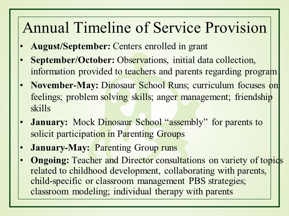 Annual Timeline of Service Provision
