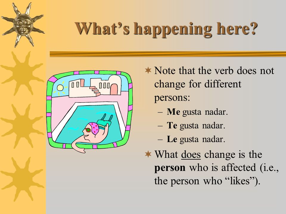 What's happening here Note that the verb does not change for different persons: Me gusta nadar. Te gusta nadar.
