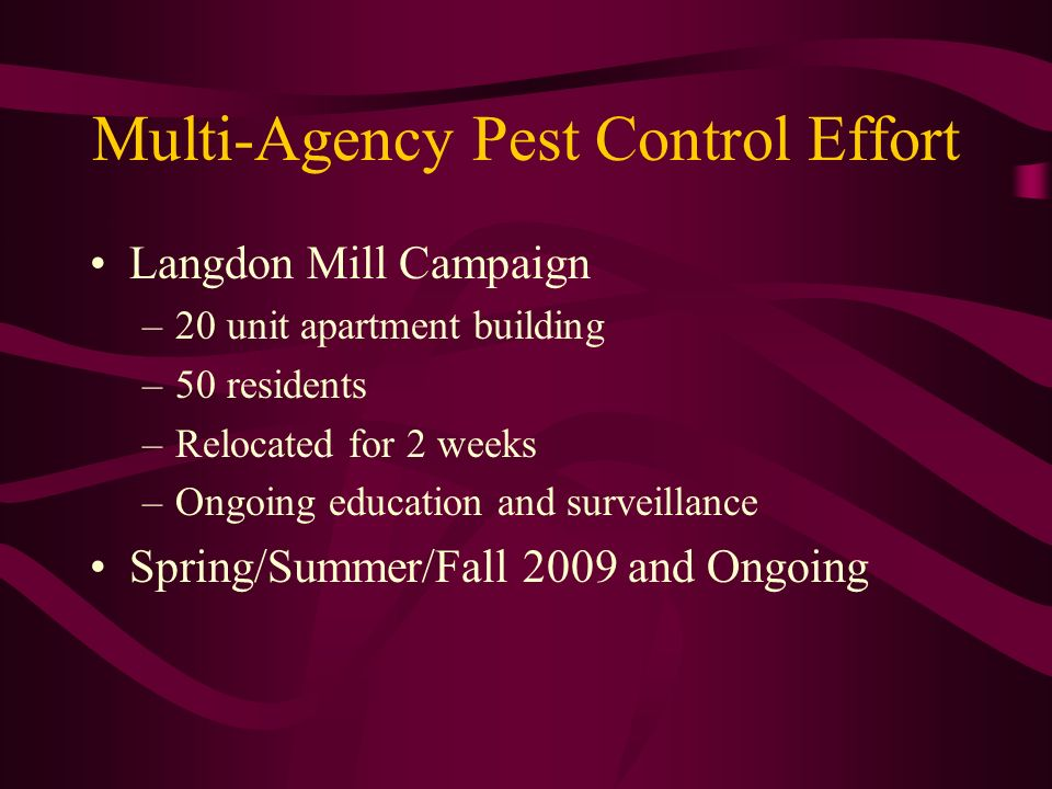 Multi-Agency Pest Control Effort