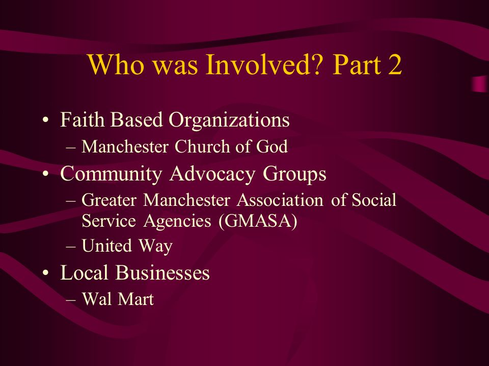 Who was Involved Part 2 Faith Based Organizations