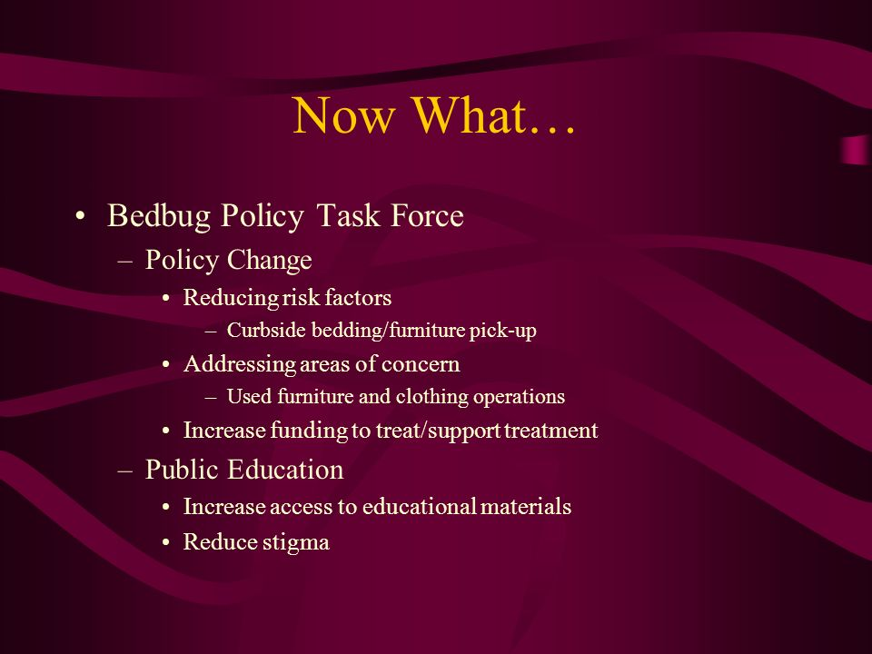 Now What… Bedbug Policy Task Force Policy Change Public Education