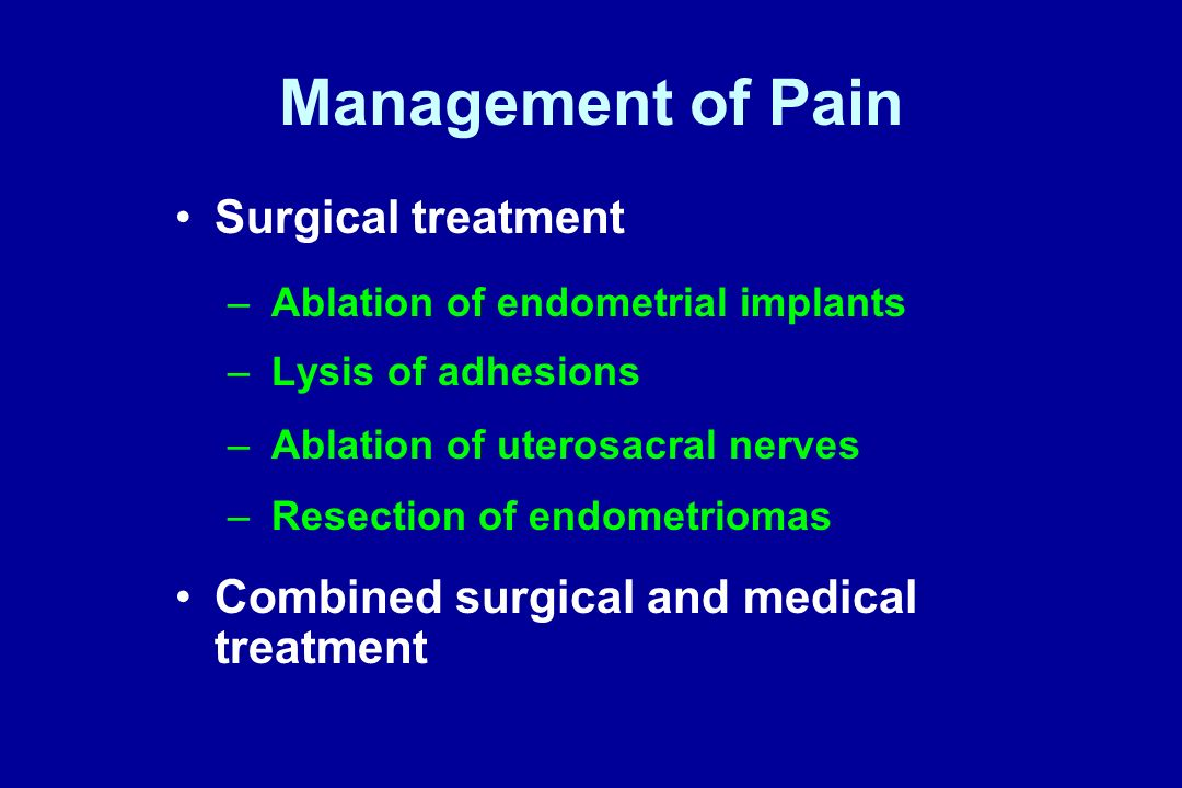 Management of Pain Surgical treatment