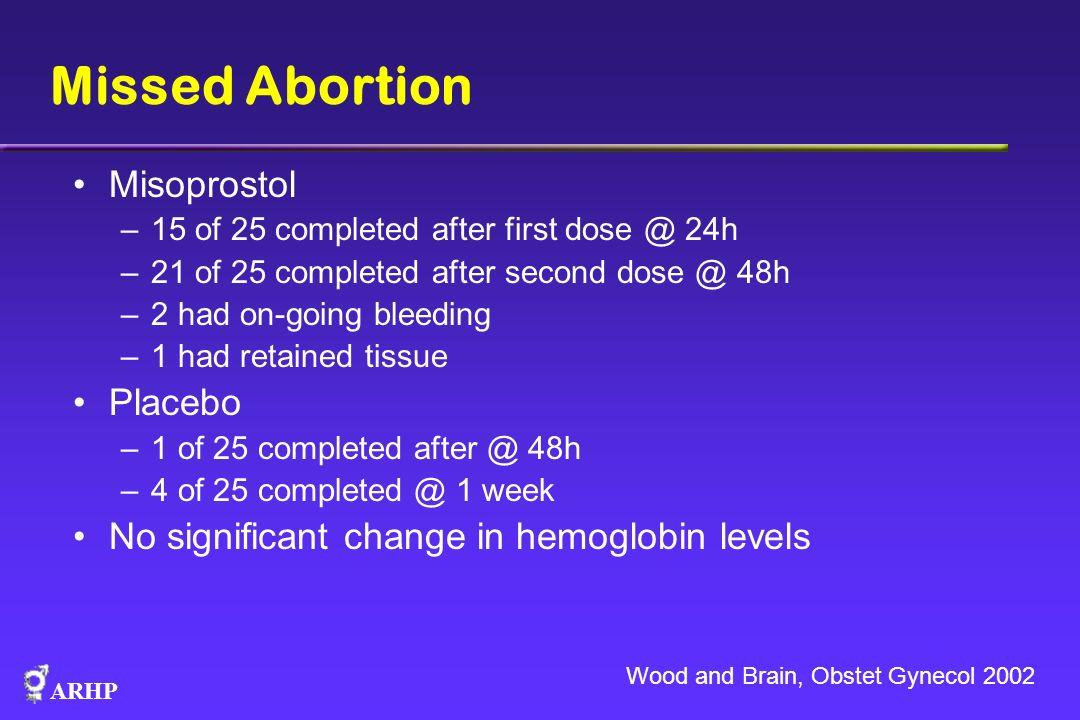 Missed Abortion Misoprostol Placebo