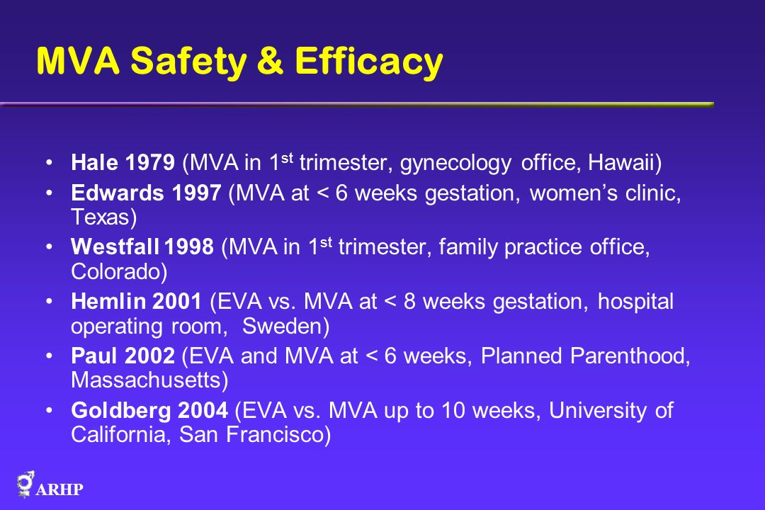 MVA Safety & Efficacy Hale 1979 (MVA in 1st trimester, gynecology office, Hawaii) Edwards 1997 (MVA at < 6 weeks gestation, women's clinic, Texas)