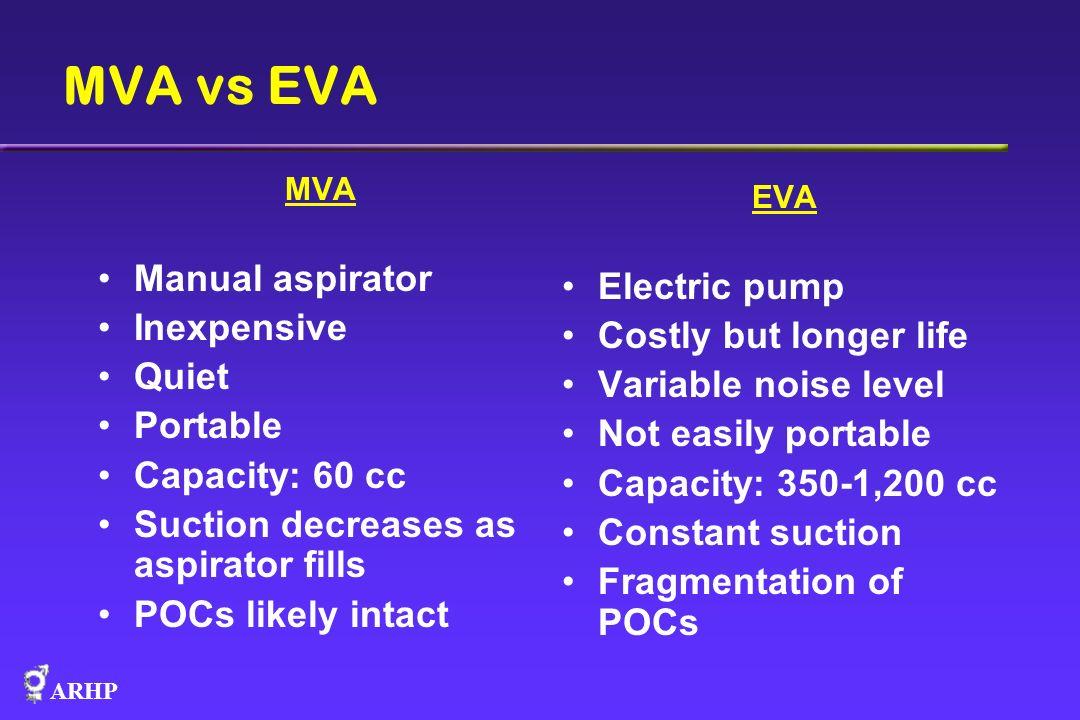 MVA vs EVA Manual aspirator Electric pump Inexpensive