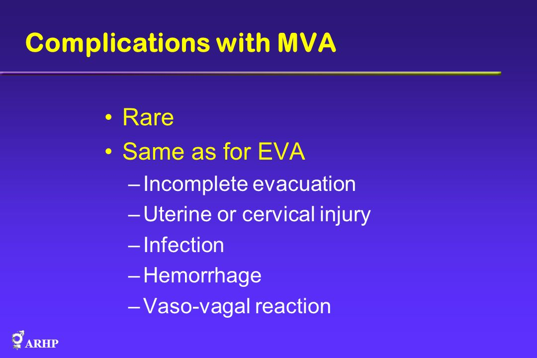 Complications with MVA