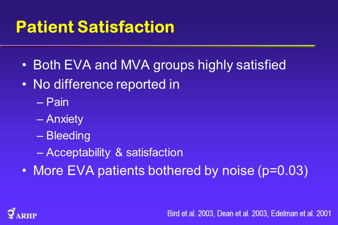 Patient Satisfaction Both EVA and MVA groups highly satisfied
