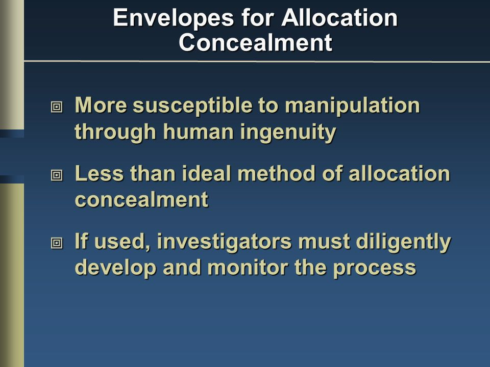 Envelopes for Allocation Concealment