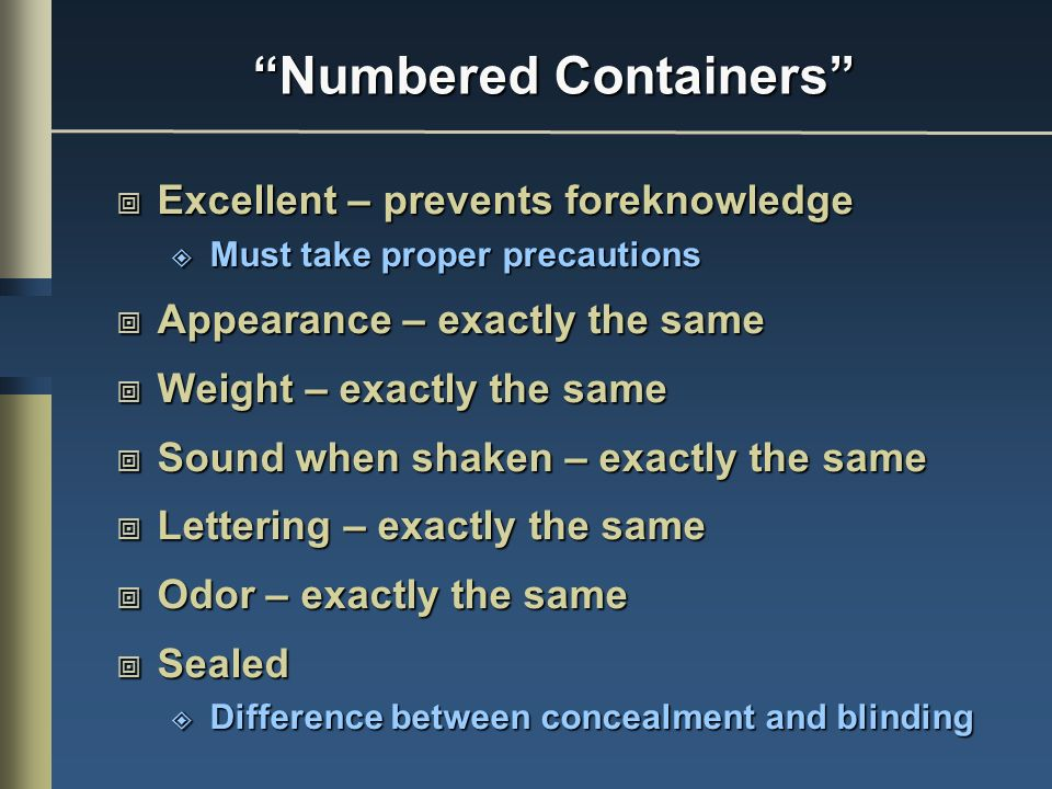 Numbered Containers