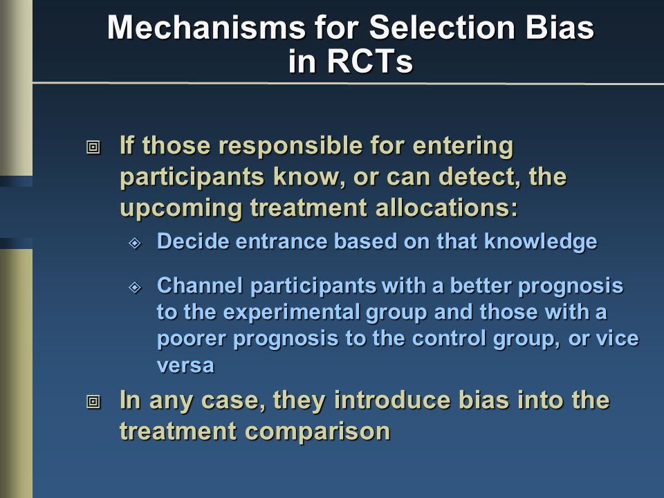 Mechanisms for Selection Bias in RCTs
