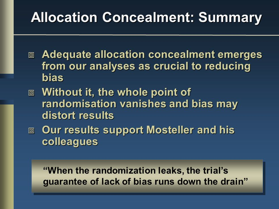 Allocation Concealment: Summary