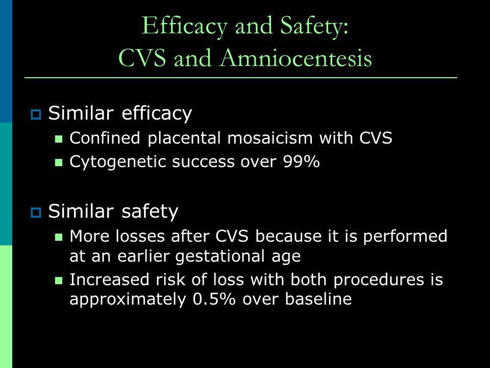 Efficacy and Safety: CVS and Amniocentesis