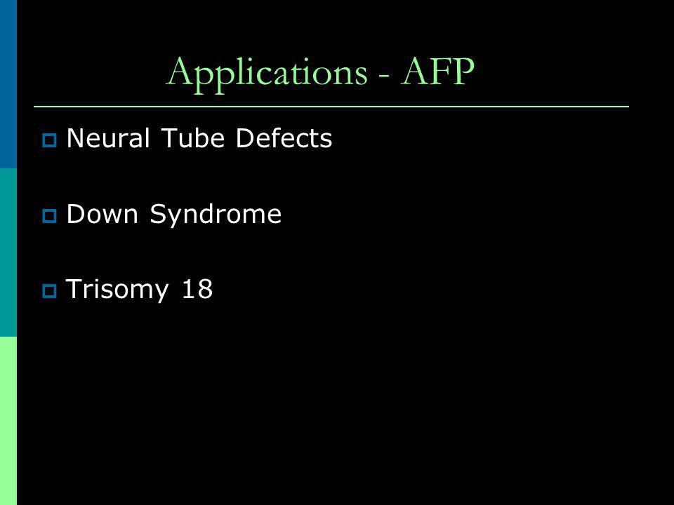 Applications - AFP Neural Tube Defects Down Syndrome Trisomy 18