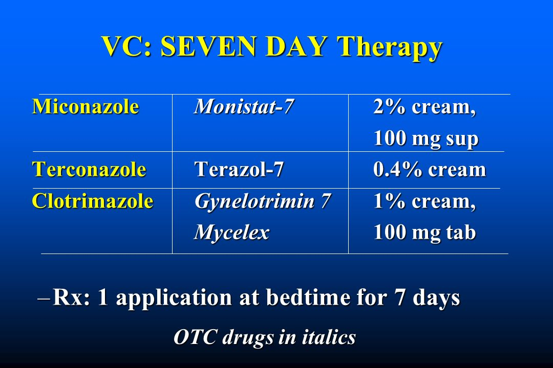 VC: SEVEN DAY Therapy Rx: 1 application at bedtime for 7 days