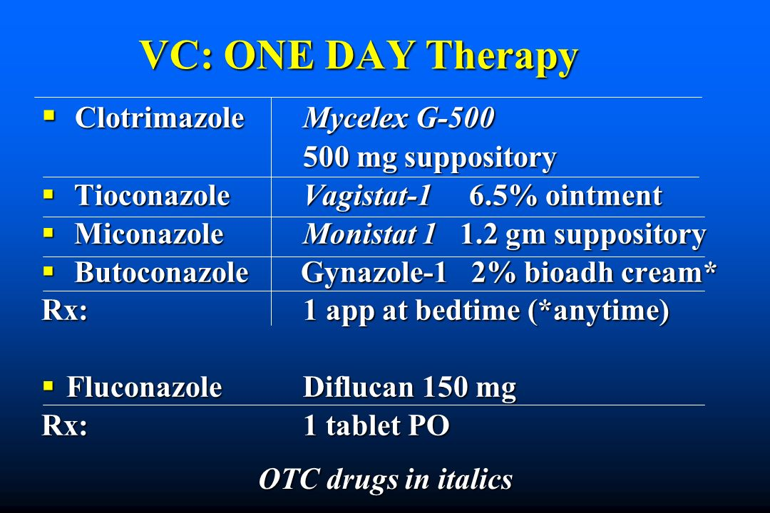 VC: ONE DAY Therapy Clotrimazole Mycelex G mg suppository