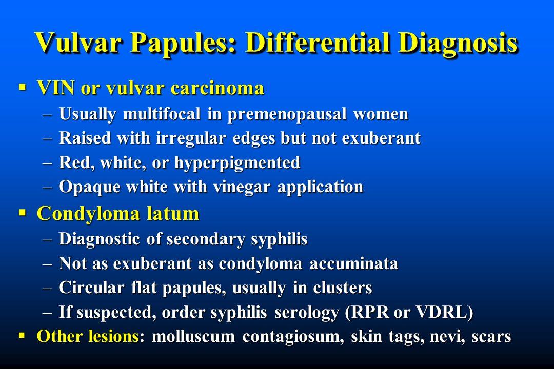 Vulvar Papules: Differential Diagnosis