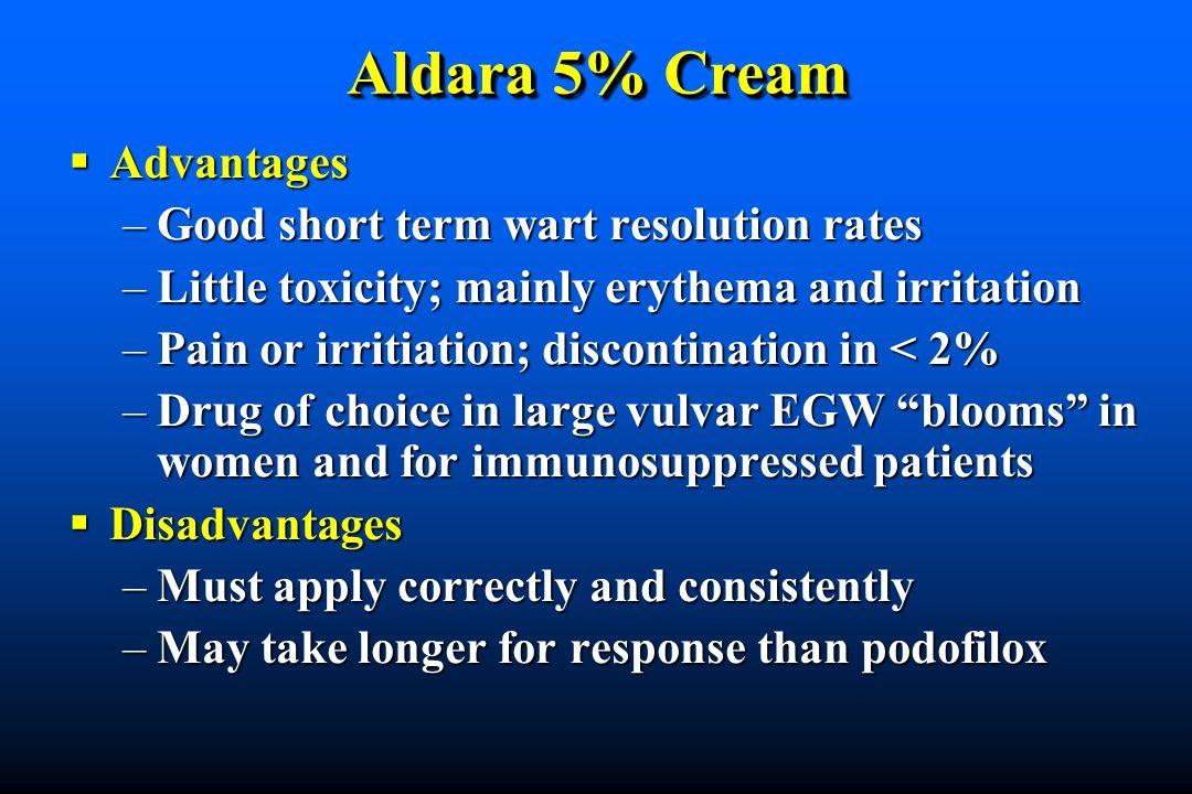 Aldara 5% Cream Advantages Good short term wart resolution rates
